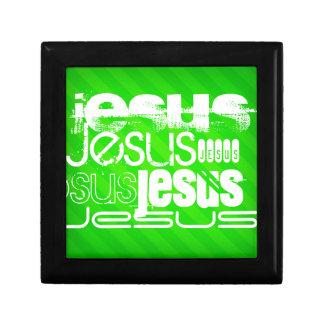 Jesús; Rayas verdes de neón Cajas De Recuerdo