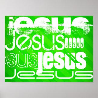 Jesús; Rayas verdes de neón Póster
