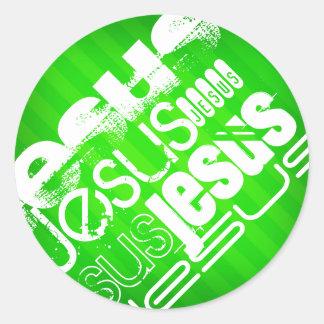 Jesús; Rayas verdes de neón Pegatina Redonda