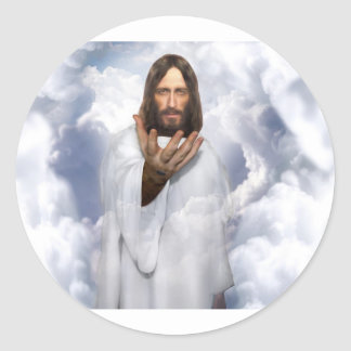 Jesus reaching out hope classic round sticker