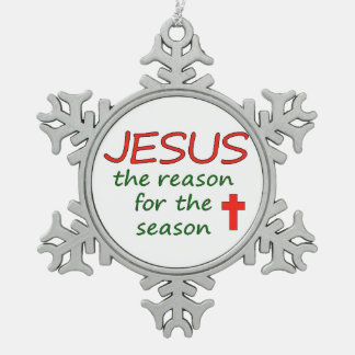 JESUS Reason for Season Snowflake Pewter Christmas Ornament