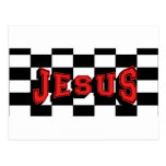 JESUS Red w/Checkbered Post Card