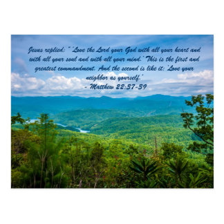 """Jesus replied: """" 'Love the Lord your God with all Postcard"""