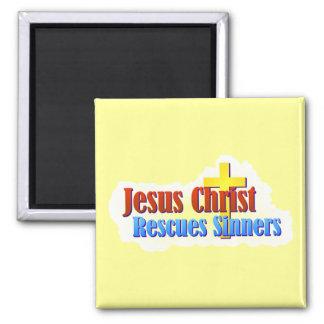 Jesús rescata a pecadores imán cuadrado