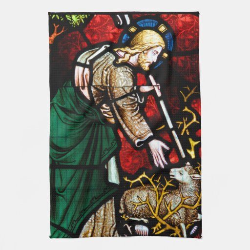 Jesús rescata un cordero de dios toallas de mano