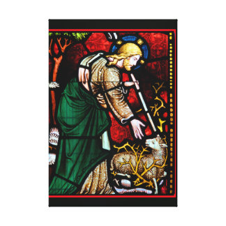 Jesus Rescues a Lamb of God Stained Glass Canvas Print