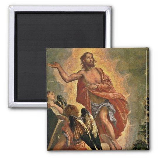 Jesús resucitado sobre su sepulcro imán cuadrado