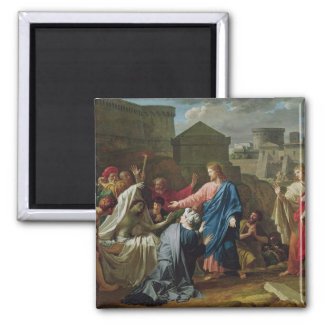 Jesus Resurrecting the Son of the Widow of Naim 2 Inch Square Magnet