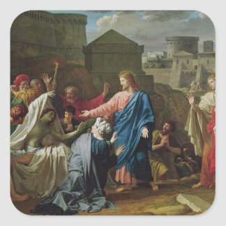 Jesus Resurrecting the Son of the Widow of Naim Square Sticker