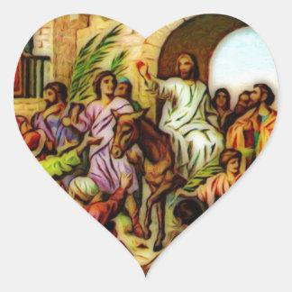 Jesus Rides the Donkey into Jerusalem Heart Sticker