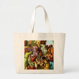 Jesus Rides the Donkey into Jerusalem Large Tote Bag