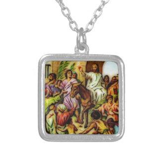 Jesus Rides the Donkey into Jerusalem Silver Plated Necklace