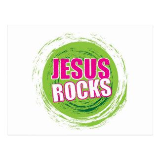 Jesus Rocks 3 Green Postcard