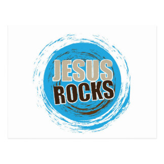 Jesus Rocks 4 Blue & choc Postcard