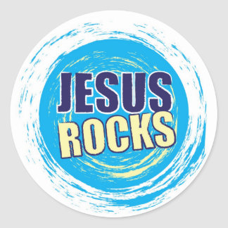 Jesus Rocks 7 Blue & Yellow Classic Round Sticker