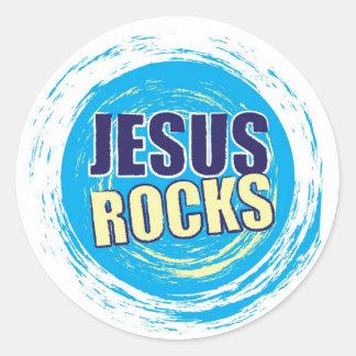 Jesus Rocks 7 Blue & Yellow Classic Round Sticker
