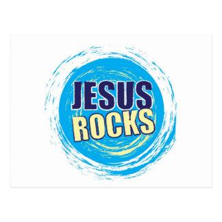 Jesus Rocks 7 Blue & Yellow Postcard