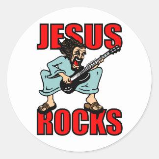 JESUS ROCKS CLASSIC ROUND STICKER