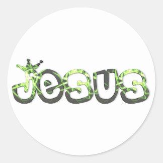 Jesus Roi  Plat vert noir 3D Classic Round Sticker