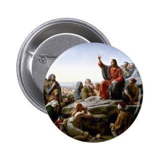 Jesús 's Sermón-en--Soporte-por-Bloch Pin Redondo De 2 Pulgadas