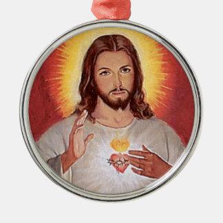 Jesus sacred heart metal ornament