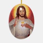 Jesus sacred heart Double-Sided oval ceramic christmas ornament