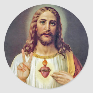 Jesus Sacred Heart Peace Sign Portrait Classic Round Sticker