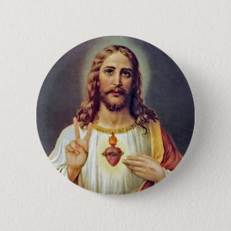 Jesus Sacred Heart Peace Sign Portrait Pinback Button