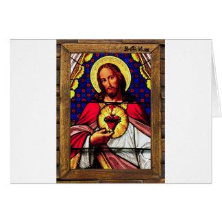 JESUS SACRED HEART  WOOD FRAME 01 CUSTOMIZABLE PRO CARD