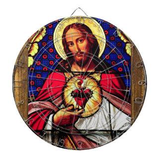 JESUS SACRED HEART  WOOD FRAME 01 CUSTOMIZABLE PRO DART BOARD