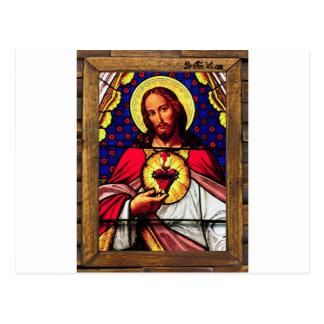 JESUS SACRED HEART  WOOD FRAME 01 CUSTOMIZABLE PRO POSTCARD