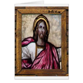 JESUS SACRED HEART  WOOD FRAME 04 CUSTOMIZABLE PRO CARD
