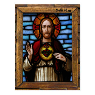 JESUS SACRED HEART  WOOD FRAME 07 CUSTOMIZABLE PRO POSTCARD