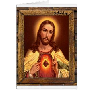 JESUS SACRED HEART  WOOD FRAME 09 CUSTOMIZABLE PRO CARD