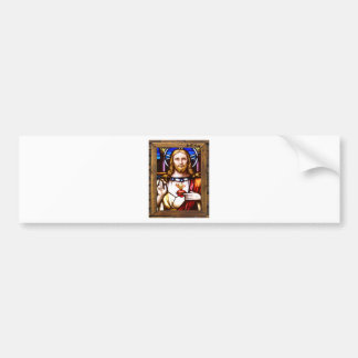 JESUS SACRED HEART  WOOD FRAME 11 CUSTOMIZABLE PRO BUMPER STICKER