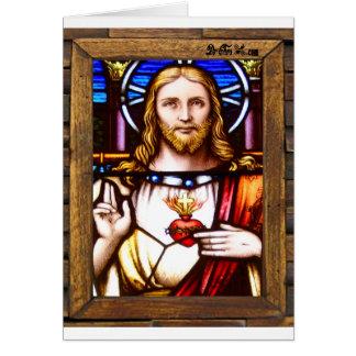 JESUS SACRED HEART  WOOD FRAME 11 CUSTOMIZABLE PRO CARD