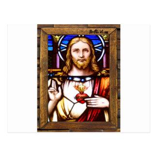 JESUS SACRED HEART  WOOD FRAME 11 CUSTOMIZABLE PRO POSTCARD