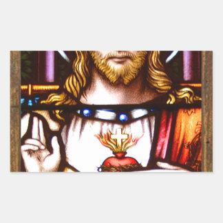 JESUS SACRED HEART  WOOD FRAME 11 CUSTOMIZABLE PRO RECTANGULAR STICKER