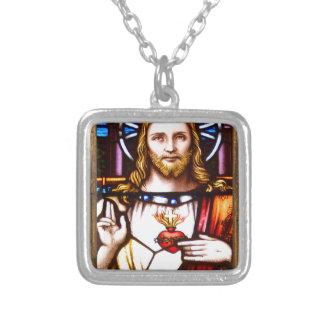 JESUS SACRED HEART  WOOD FRAME 11 CUSTOMIZABLE PRO SQUARE PENDANT NECKLACE