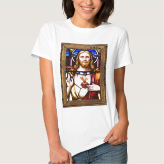JESUS SACRED HEART  WOOD FRAME 11 CUSTOMIZABLE PRO TEE SHIRT