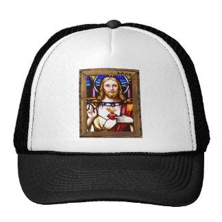 JESUS SACRED HEART  WOOD FRAME 11 CUSTOMIZABLE PRO TRUCKER HAT