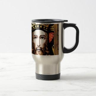 JESUS SACRED HEART  WOOD FRAME 13 CUSTOMIZABLE PRO 15 OZ STAINLESS STEEL TRAVEL MUG