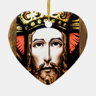 JESUS SACRED HEART  WOOD FRAME 13 CUSTOMIZABLE PRO CERAMIC ORNAMENT