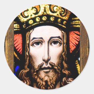 JESUS SACRED HEART  WOOD FRAME 13 CUSTOMIZABLE PRO CLASSIC ROUND STICKER