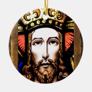 JESUS SACRED HEART  WOOD FRAME 13 CUSTOMIZABLE PRO Double-Sided CERAMIC ROUND CHRISTMAS ORNAMENT