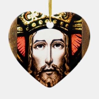 JESUS SACRED HEART  WOOD FRAME 13 CUSTOMIZABLE PRO Double-Sided HEART CERAMIC CHRISTMAS ORNAMENT