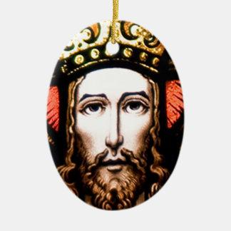 JESUS SACRED HEART  WOOD FRAME 13 CUSTOMIZABLE PRO Double-Sided OVAL CERAMIC CHRISTMAS ORNAMENT
