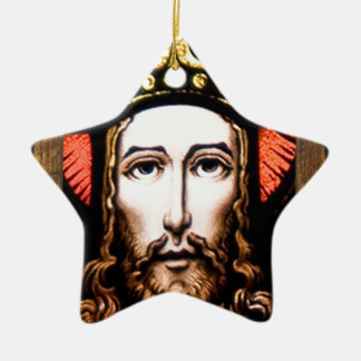 JESUS SACRED HEART  WOOD FRAME 13 CUSTOMIZABLE PRO Double-Sided STAR CERAMIC CHRISTMAS ORNAMENT