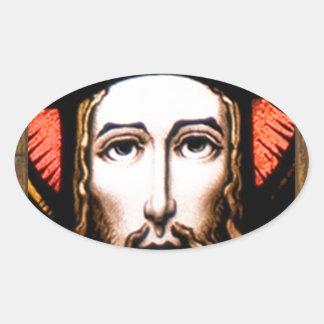 JESUS SACRED HEART  WOOD FRAME 13 CUSTOMIZABLE PRO OVAL STICKER