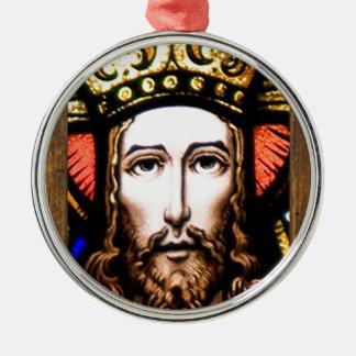 JESUS SACRED HEART  WOOD FRAME 13 CUSTOMIZABLE PRO ROUND METAL CHRISTMAS ORNAMENT